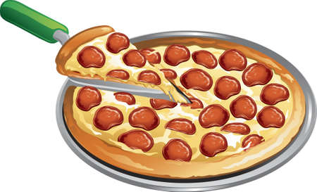 Illustration of a pepperoni pizza with a slice taken out. Illustration