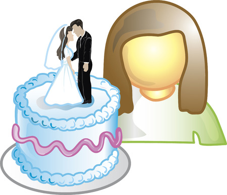 Illustration of a cake designer icon with a wedding cake. This icon is part of the food industry icon collection. Stock Vector - 6829997