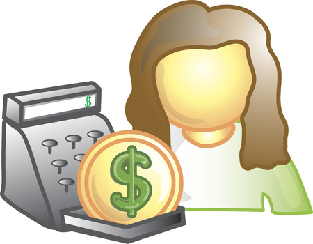 Illustration of a cashier icon with money and a register. This icon is part of the food industry icon collection.