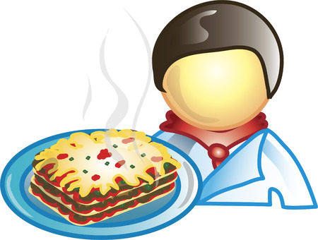 food industry: Illustration of a chef icon holding a plate of lasagna. This icon is part of the food industry icon collection.
