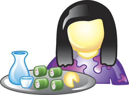Illustration of a chinese waitress icon holding a plate of sushi and sake. This icon is part of the food industry icon collection. Stock Vector - 6829992