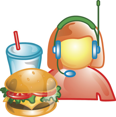Illustration of a drive thru operator icon with a headset and fast food. This icon is part of the food industry icon collection.