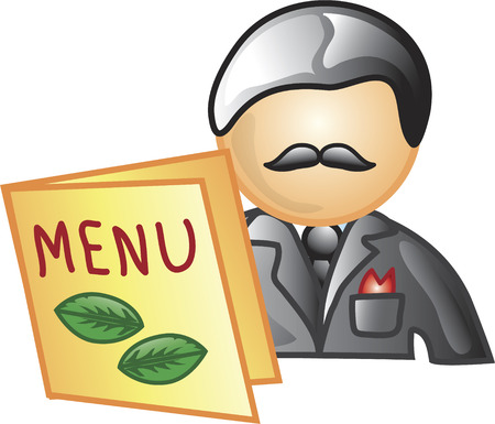restaraunt: Illustration of a maitred icon with a menu. This icon is part of the food industry icon collection.