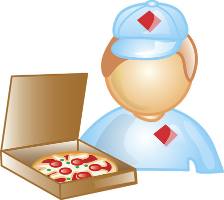 Illustration of a pizza delivery boy icon holding a box of pizza. This icon is part of the food industry icon collection. Stock Vector - 6829994