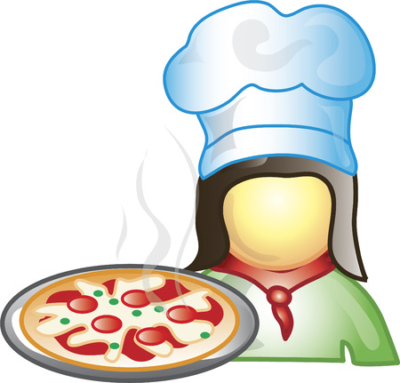 Illustration of a pizza maker icon with a pepperoni pizza. This icon is part of the food industry icon collection.