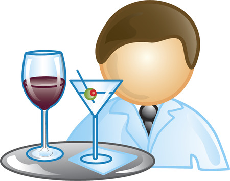 food industry: Illustration of a waiter icon holding a tray with wine and a martini. This icon is part of the food industry icon collection.
