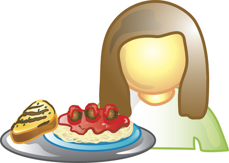 food industry: Illustration of a waitress icon holding a tray with spaghetti. This icon is part of the food industry icon collection. Illustration