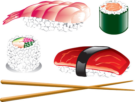 Illustration of different japanese food icons, including sushi, sashimi and chopsticks Vector