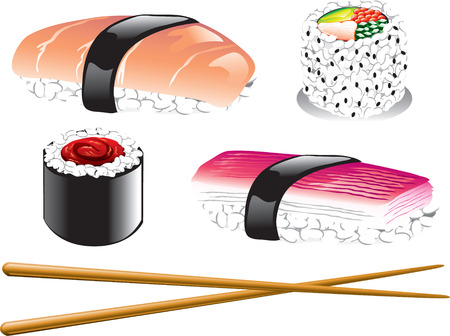 Illustration of different japanese food icons, including sushi, sashimi and chopsticks