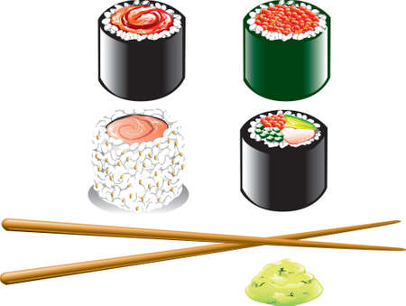Illustration of different japanese food icons, including sushi, wasabi and chopsticks Vector