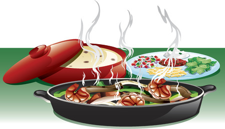 Illustration of a fajita trio meal including, shrimp, beef, and chicken