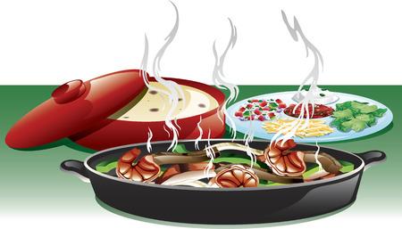 shredded: Illustration of a fajita trio meal including, shrimp, beef, and chicken