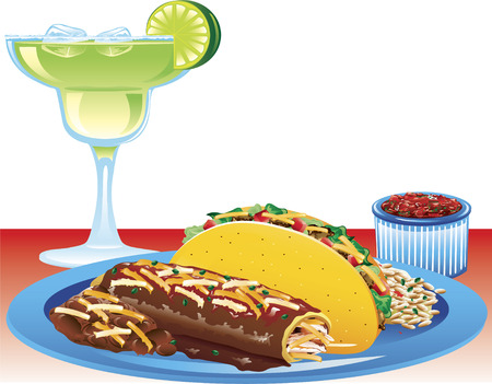 Illustration of a hard taco meal with spanish rice, refried beans, and a magarita  Illustration