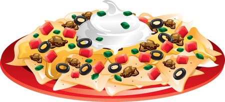 Illustration of a plate of nachos with everything  Illustration
