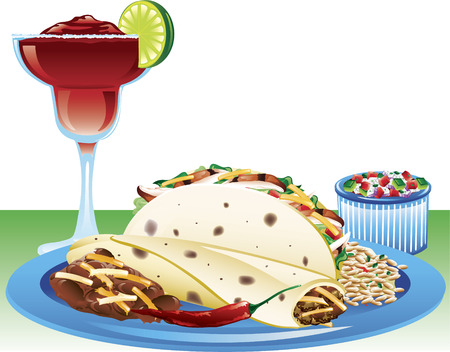 frozen meat: Illustration of a soft taco meal with spanish rice, refried beans, and a strawberry magarita