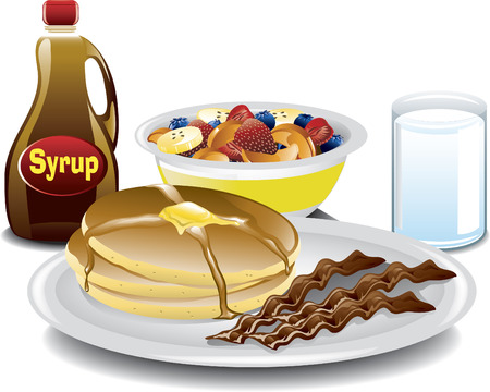 bacon art: Illustration of a complete breakfast with pancakes, bacon, a fruit bowl, a bottle of syrup and a glass of milk