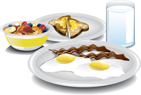 Illustration of a complete breakfast with fried eggs, bacon, a fruit bowl, buttered toast and a glass of milk  Illustration