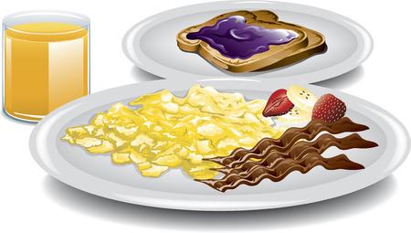 scrambled: Illustration of a healthy complete breakfast  Illustration