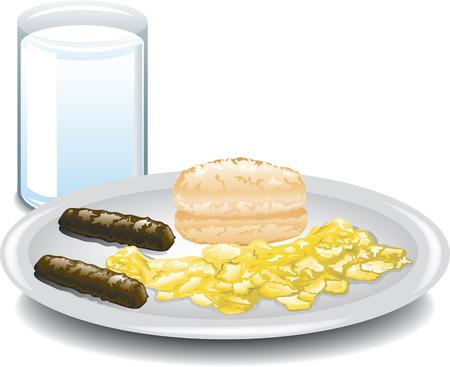 scrambled: Illustration of a complete breakfast