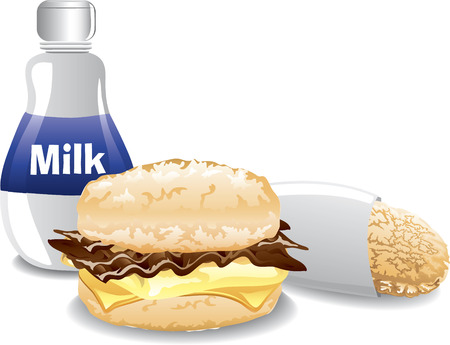 hashbrown: Illustration of a fast food breakfast with a bacon egg and cheese biscuit sandwich, hashbrown and milk
