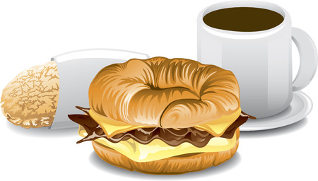 bacon and eggs: Illustration of a fast food breakfast Illustration