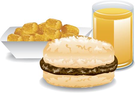 hashbrown: Illustration of a fast food breakfast  Illustration