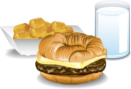 tots: Illustration of a fast food breakfast with a croissant sandwich, tater tots and milk