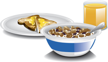 bread and butter: Illustration of a complete breakfast with cereal, orange juice and toast