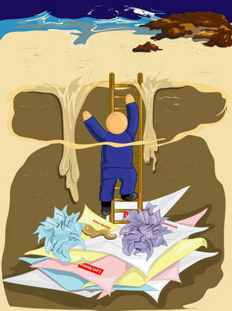 Illustration of a man climbing out of debt, while the quiksand gets him.