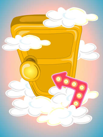 Illustration of a door in the sky with a neon arrow pointing at the door handle Stock Photo