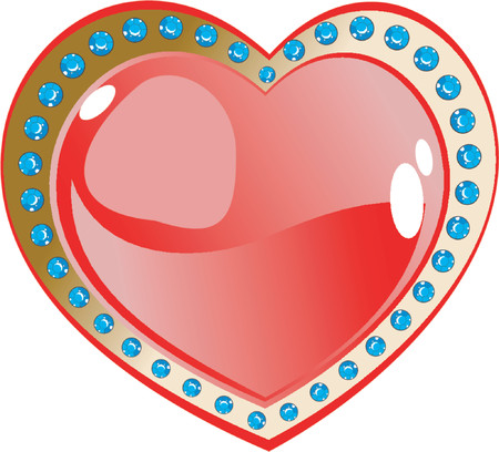 Red Heart And Diamonds Vector