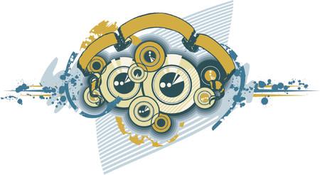 subwoofer: Dischi Sub-woofer Ornamento Texture Vettoriali