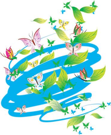 Pastel Colors Butterflies, Leaves, Scrolls. Vector