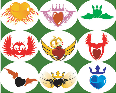 Nine Brand New Crown Hearts on the Wings Stock Vector - 1279807