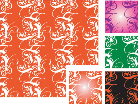 Five Tiled Vector Backgrounds.  Vector