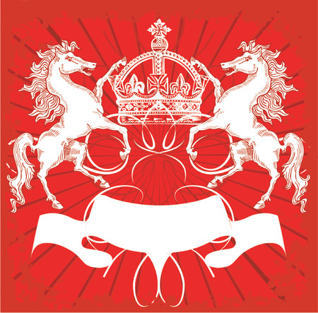 knight horse: White Horses and Crown On Red Ornate Background