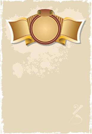 Gold Banner Old Page. Illustration