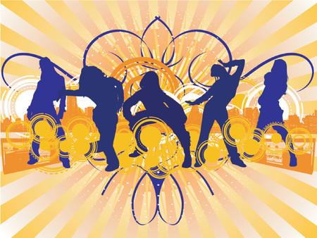 Hip-Hop Dancing Girls Silhouette on City Background.