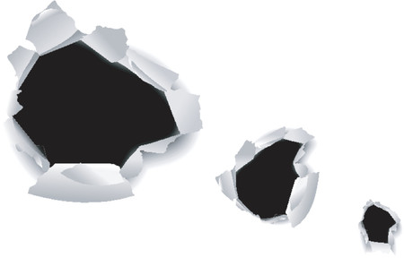 gash: High Detailed Hole in White Paper.  Illustration