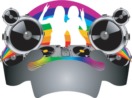 Twins Girls Silhouette, Turntable, Sound, Rainbow and Banner