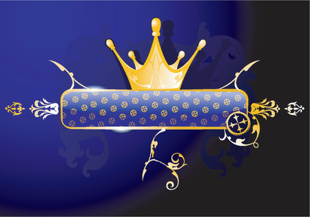 Gold Crown and Glow Blue Banner Illustration