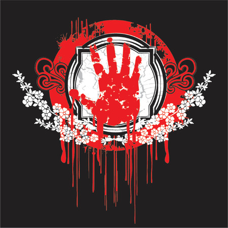 Blood Palm Hand Symbol.  Stock Vector - 1279815