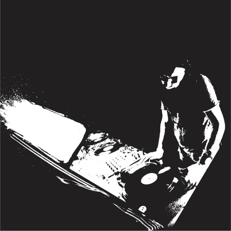 turntable: Black And White Graffiti DJ
