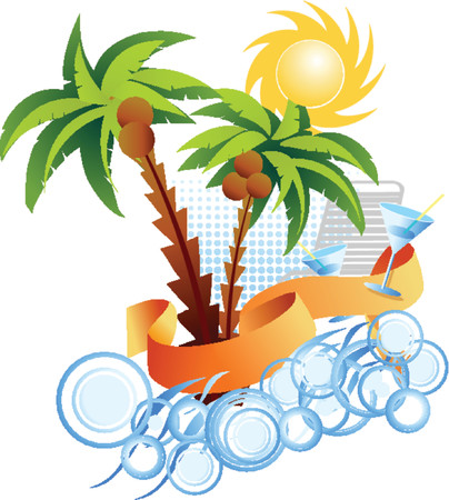Palms. Sun. Sea. Background. Vector