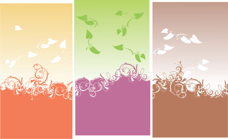 Color Backgrounds. Curves And Leaves. Vector