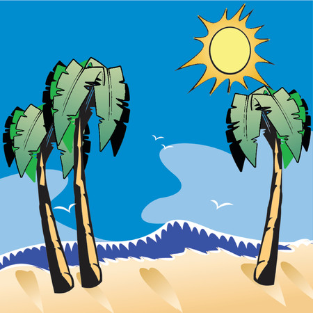 Ocean Beach Cartoon. Vector