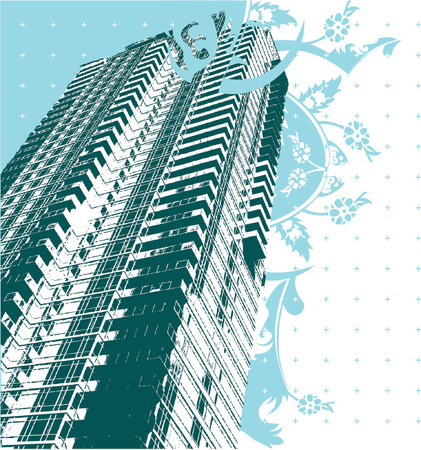 Skyscraper And Blue Curves Illustration