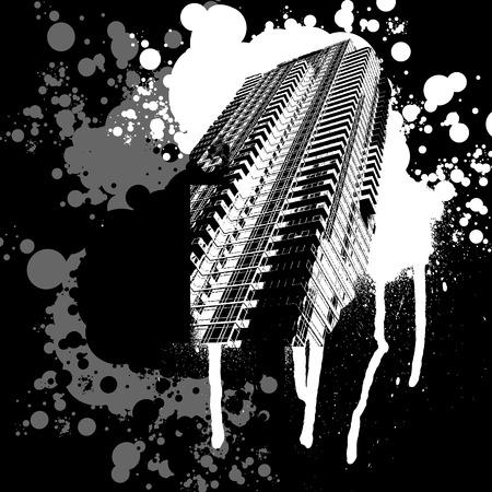 Skyscraper in bianco e nero Graffiti