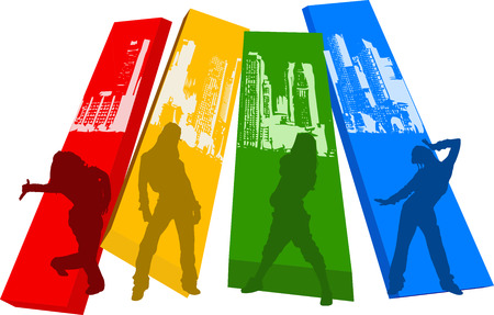 grooved: Rainbow Color Hip Hop Silhouette Illustration