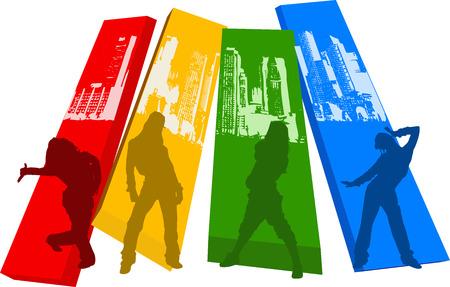 Rainbow Color Hip Hop Silhouette Illustration